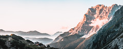 A beautiful mountain panorama (kevingomes1) Tags: landscape fog sunset nature clouds outdoor outside glow germany mountain peak alps mountaineering hiking summit exploring alpine alpen hütte zugspitze alp alpenglow wanderlust mountainscape top mountainside hut coburger