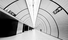 white hall (dieterein) Tags: blackandwhite munich subway ubahn underground white black