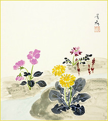 Dandelion, Chinese milk-vetch and Japanese primrose (Japanese Flower and Bird Art) Tags: flower dandelion taraxacum asteraceae chinese milkvetch astragalus sinicus fabaceae primrose primula sieboldii primulaceae yoshiki takashima nihonga shikishi japan japanese art readercollection