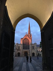 Sunset view through Erpingham Gate, Norwich Cathedral, England (Paul McClure DC) Tags: norwich norfolk england britain eastanglia aug2017 historic architecture cathedral sunset