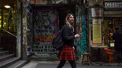 Tartan over Graffiti (Ross Major) Tags: lady girl walking alley melbourne victoria olympus street streetscape people graffiti degraves tartan