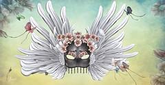 She Wears A Mask (Jewel Appletor aka Karalyn Hubbard) Tags: mask wings feathers flowers dark dementia sick disease brain parkinsons love family stress anxiety lovedones helpless death suffering confusion butterflies swallowtail life
