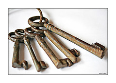 Ye Olde Keys (paulinecurrey) Tags: history old keys ring iron rust rustic macro closeup highkey naturallight metal lines contrast shadows blur cobwebs brown white stilllife