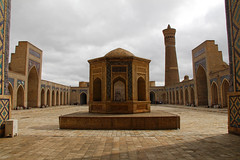 Kalyan Mosque's courtyard in the sun in Bukhara, Uzbekistan