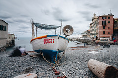 empty chairs in Boccadasse (FButzi) Tags: genova genoa boccadasse liguria italia italy boat sky clouds cloudy sea beach