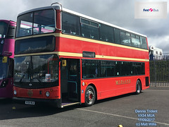 FIRST MIDLAND RED HERITAGE LIVERIED DENNIS TRIDENT VX54 MUA SHOWBUS 2017 DONINGTON 17092017 (MATT WILLIS VIDEO PRODUCTIONS) Tags: first midland red heritage liveried dennis trident vx54 mua showbus 2017 donington 17092017