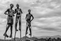 Higher Ground (Omo Valley, Ethiopia 2014) (Alex Stoen) Tags: 1dx above abyssinia advantage africa alexstoen alexstoenphotography boys canon canoneos1dx ef1635f28liiusm ethiopia flickr fun geotagged google hamer happiness height jinkatoturmi kids laughs natgeo nationalgeographicexpeditions paintedbodies showingoff three travel tribes trio vacation facebook higherground smugmug stilts