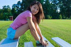Mei - 2004 (Chris-Creations) Tags: mei portrait people pretty chinese asian woman lady petite girl feminine femme fille attractive sweet cute beauty lovely amateur wife gorgeous beautiful glamour mujer niña esposa женщина 女孩 女人 性感 妻子 20040806197 smile smiling shortshorts outside outdoors