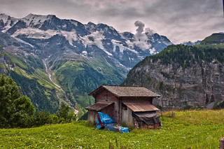 The little old barn in Gimmelwald. Canton of Bern Switzerland. No. 542.