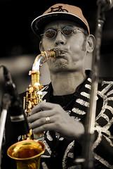 Blow It! (Poocher7) Tags: people portrait richardunderhill saxophoneplayer shuffledemons musician singer entertainer performer jazz funk rap stage concert waterloojazzfestival waterloo ontario canada sunglasses canadianband torontoband sepia monochrome blackandwhite isolatedcolour selectivecolour