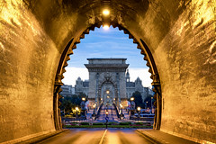 Tunnel Bridge (JH Images.co.uk) Tags: budapest buda chainbridge chain bridge morning tunnel road symmetry symmetric architecture roundabout art hdr dri blue hour