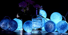 blue-tiful ! Thread Ball lights (Sriini) Tags: smileonsaturday bluetiful blue light lighting electric low key lowkey theme threadballlights thread ball art electricblue cotton balls perfume bottle glass nikkor nikon connection wires