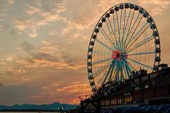 The Wheel Lights Up (Mr.LeeCP) Tags: seattle summer sunset northwest