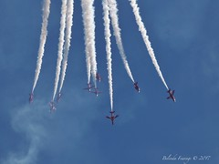 Red Arrows (Belinda Fewings (3 million views. Thank You)) Tags: above midday endofthesummer panasoniclumixdmc belindafewings interesting incredible reds 9 nine sky september hurn bournemouthinternationalairport bournemouthairfestival raf redarrows red white blue out outdoor outside skies