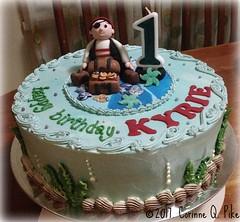 Pirate-themed birthday cake (pike.corinne) Tags: pirate first birthday cake chocolate picmonkey