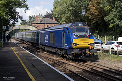 68028 departs Brundall working 2J74 1205 Norwich - Lowestoft 31/8/2017 (Paul-Green) Tags: class 68 68028 68005 brundall station aga abellio greater anglia passenger service flickr uk gb railways norfolk canon camera 1205 norwich lowestoft drs direct rail services 2017 2j74