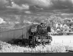 Flying Scotsman Infrared. (Go Large) in Explore 15th September 2017 (Trevor Watts Photography) Tags: somerset gb uk england southwestengland nikon dslr thesouthwest september 2017 © trevorwatts flyingscotsman wsr westsomersetrailway visit steamtrain railway britishrail br heritage steam infrared mono bw