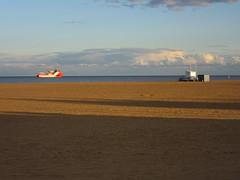 Great Yarmouth Beach (LookaroundAnne) Tags: sand shore beach sea seaside northsea ship vessel clouds sky shadows greatyarmouth yarmouth norfolk