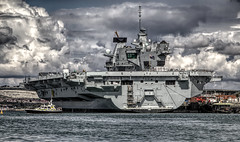 You can't park that here ! (Jon_Wales) Tags: hmsqueenelizabeth portsmouth navy royalnavy autumn police sea ship aircraftcarrier parking