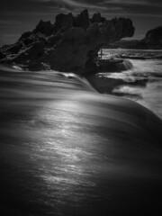 beach 16.4 (Andrew C Wallace) Tags: ir infrared thephotontrap olympusomdem5 microfourthirds m43 blackandwhite bw slowwater waterflow waterblur blur longexposure dragon rye victoria australia nd400