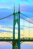 St. Johns Bridge, Portland, Oregon, sunset (Terra Nova Images) Tags: steelsuspensionbridge stjohnsbridge portland oregon gothicstyle engineer davidbsteinman willametteriver robinsondholt sunset