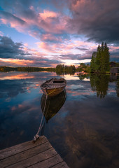 Solitude (lonekheir) Tags: boat woodenboat norge norway forest reflections jetty cabin house
