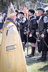 Scottish Halberdiers and Pope (GazerStudios) Tags: hats scottish kilts warriors boots livinghistory bishop celtic 55300mm nikond90 yellow costumes halberds weapons armor men black gold pope renprod renaissance 15thcentury leather historicalreenactment berets crochet bracers groups mitre