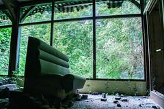 Let see outside (Morgane G.) Tags: urbex exploration destruction old hotel brantome dordogne abandoned abandonné sofa restaurant vegetation nature glass