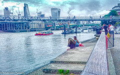 Watching The Boats Go By (M C Smith) Tags: riverthames river shadows water clouds white sky blue people boats bridge buildings red trees green weeds gate wall cranes sitting lunch