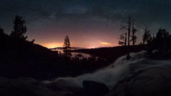 The Eagle has Landed (Darkness of Light) Tags: lake tahoe emerald bay eagle falls hwy 89 50 night sky stars star milkyway milky way waterfalls silhouttes trees islands glow hotel lights sony a7r2 a7rii batis zeiss