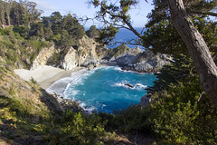 McWay Falls [explored] (LunarKate) Tags: us usa united states america unitedstates unitedstatesofamerica west coast westcoast cali california central beach beauty beautiful landscape seascape pacific ocean water highway 1 highway1 nikon d40 dslr may 2016 solo travel traveling mcway falls waterfall cove creek cabrillo