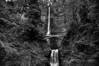 The Wonderful Beauty of Multnomah Falls (Black & White)