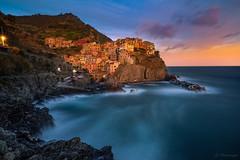Manarola (jo.haeringer) Tags: manarola cinqueterre sea sunset sky clouds village italy fuji xt2 longexposure leefilter lee rocks light