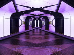 Last thing I remember, I was running for the door (Steve Taylor (Photography)) Tags: eagles hotelcalifornia mirror symmetrical passage art architecture digital black mauve purple white uk gb england greatbritain unitedkingdom london stpancras station tunnel underground tube