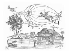 Cowboy (rod1691) Tags: bw scifi grey concept custom car retro space hotrod drawing pencil h2 hb original story fantasy funny tale automotive art illistration greyscale moonpies sketch