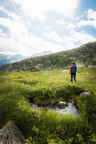Hiking at Lukamnier Pass