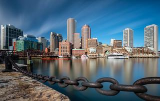 Downtown Boston from Fan Pier Park