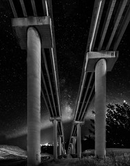 Milky Way under the Bridge (mcalma68) Tags: black white monochrome milky way stars night high iso highway viaduct bridge sicily a19 construction low angle