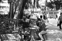 Checkmate! (superzookeeper) Tags: 5dmk4 5dmkiv hk hongkong canoneos5dmarkiv ef2470mmf28liiusm checkmate chess monochrome templest temple templestreet ymt yaumatei blackandwhite people park eos bnw oldhk oldhongkong chessmaster digital favorites street