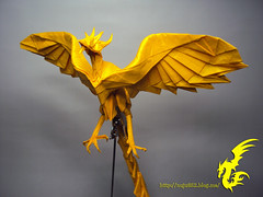 Phoenix (Rydos) Tags: paper origami art hanji koreanpaper korean paperfold fold folding paperfolding designed design model papermodel kamiya satoshi kamiyasatoshi yellow phoenix