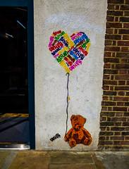 Unify (Steve Taylor (Photography)) Tags: teddy bear toy balloon string heart art graffiti streetart stencil uk gb england greatbritain unitedkingdom london