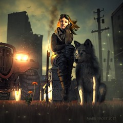 Seeds of hope (Mark Frost :)) Tags: war apocalypse postapocalypse apocalyptic dandelion flower dark steampunk wolf dog canine girl woman female heroine science fiction flame flamethrower vehicle ruins