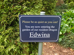 Photo of Ralph Court Gardens - Dragon pool - Edwina the dragon - sign - Please be as quiet as you can!