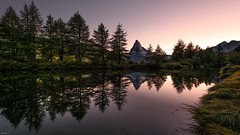 My friend Matterhorn (leoskar) Tags: matterhorn cervin zermatt switzerland suisse valais wallis reflectionslovers nikonpassion nikon mountains landscapes reflections alps sunset colors trees waterscape ngc