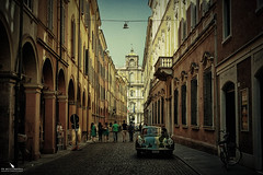 Bologna Street In Summer (pbmultimedia5) Tags: bologna italy vintage car old town historical center pbmultimedia emilia romagna summer people walking pedestrians