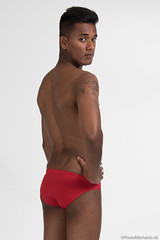 Ashwin (PhotoMechanic.uk) Tags: male man guy dude youth model pose photoshoot studio shirtless topless speedo speedos swimming trunks swimmer swimwear diver red body physique muscle muscular masculine stand standing