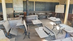 Bodie | Class is dismissed (Gunn Shots (Mark Gunn)) Tags: classroom ruin dust desks books bodie ghostown chalkboard blackboard empty maps