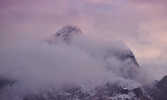misty mountain (Simple_Sight) Tags: mountain mist alpspitze evening light sky clouds sunset fall nature outdoors landscape snow