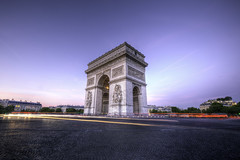 Centre of Attention (Hemzah Ahmed) Tags: arcdetriomphe paris parisian travel traveller arch arc france sunset blue hour thebluehour lighttrails beautiful magnificent monument champselysees placecharlesdegaulle canon5dmarkiii canon5dmark3