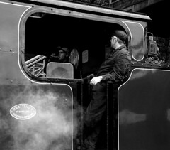 Engine crew (Snapshooter46) Tags: steam locomotive crew people haverthwaitestation bagnall 2996 060st industrial monochrome blackandwhite